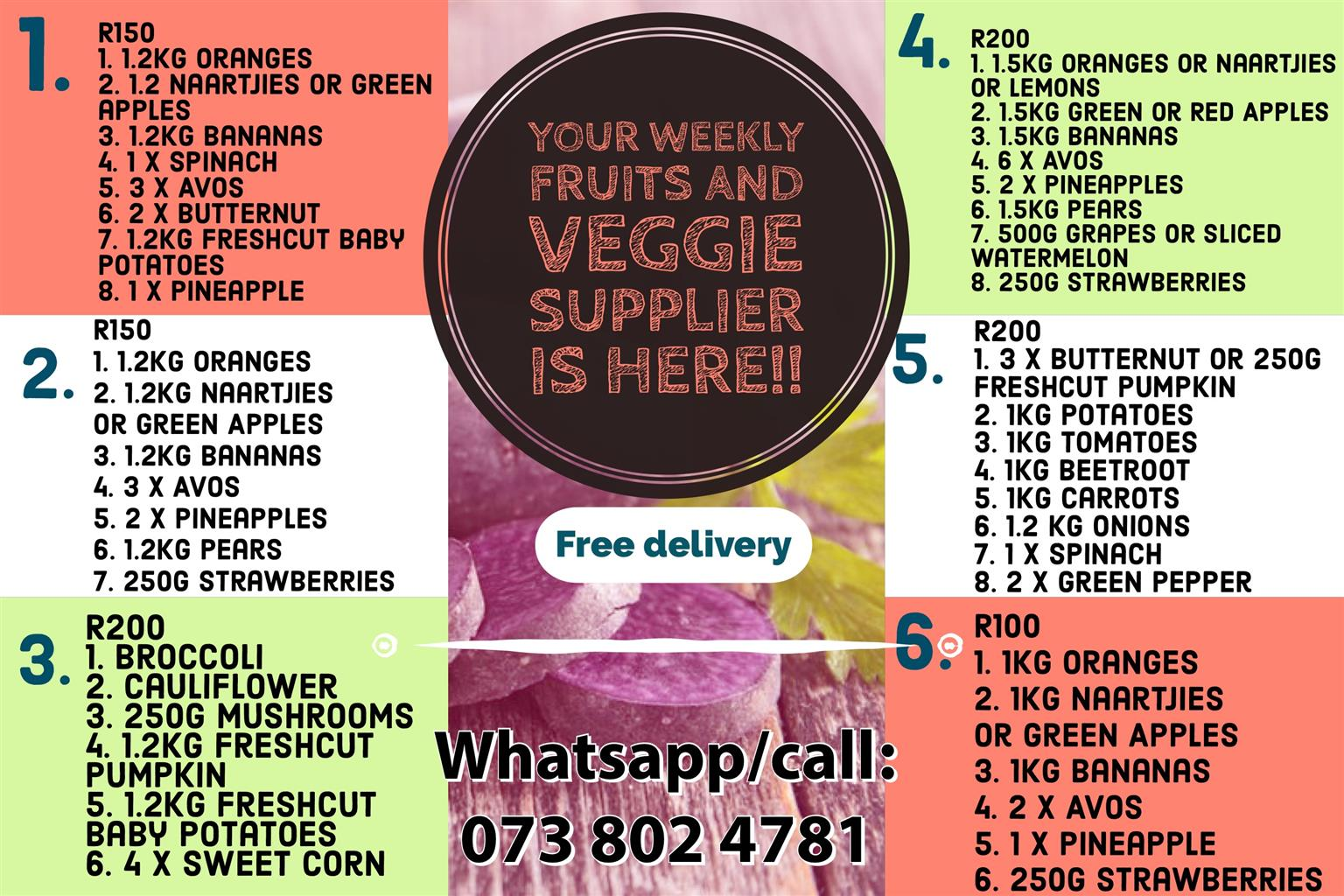 Weekly fruit and veg packages