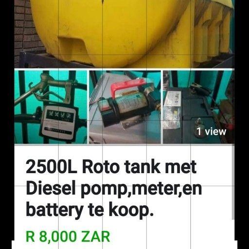 2500 L Roto tank met diesel pomp, meter en battery