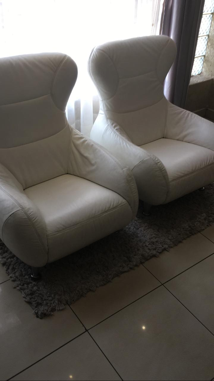 White Full Genuine Leather Single Couches - Collectors Items