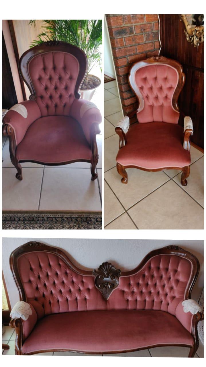 Imbuia pink victorian livingroom set