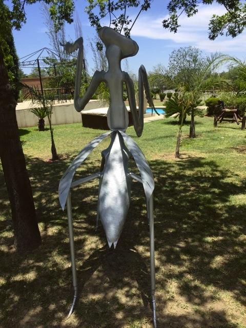 Stainless steel prey mantis statue
