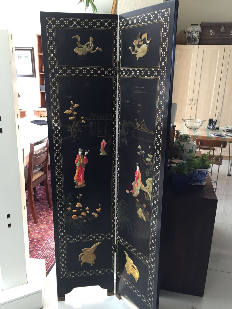 Antique Coromandel Screen/Oriental Dressing Screen/Ebonized Folding Room Divider - price reduced to clear