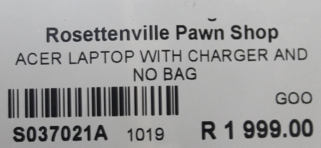 Acer laptop with charger and no bag S037021A #Rosettenvillepawnshop