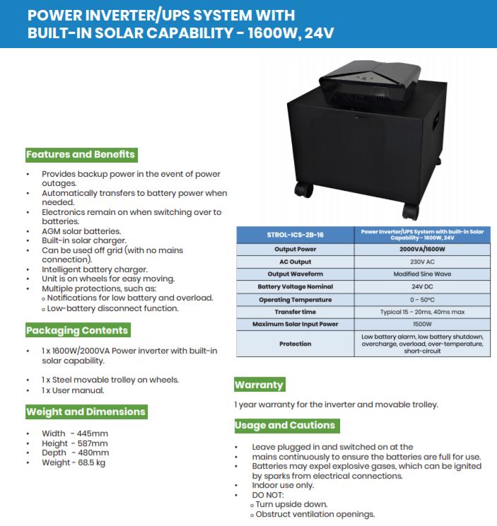 INVERTER TRON 2000 VA / UPS SYSTEM WITH BUILT-IN SOLAR CAPABILITY - 1600W, 24V