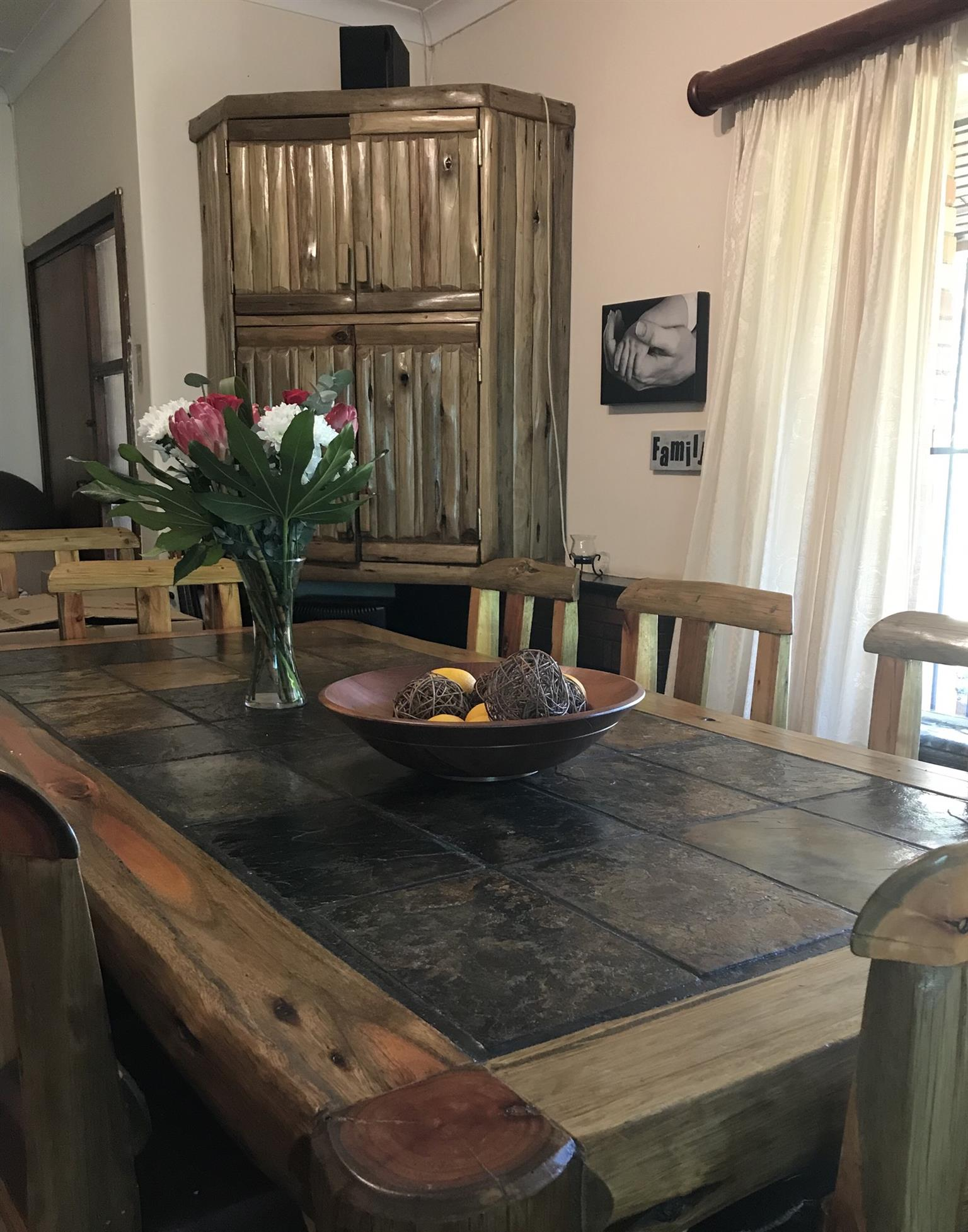Dining-table set, including matching cupboard