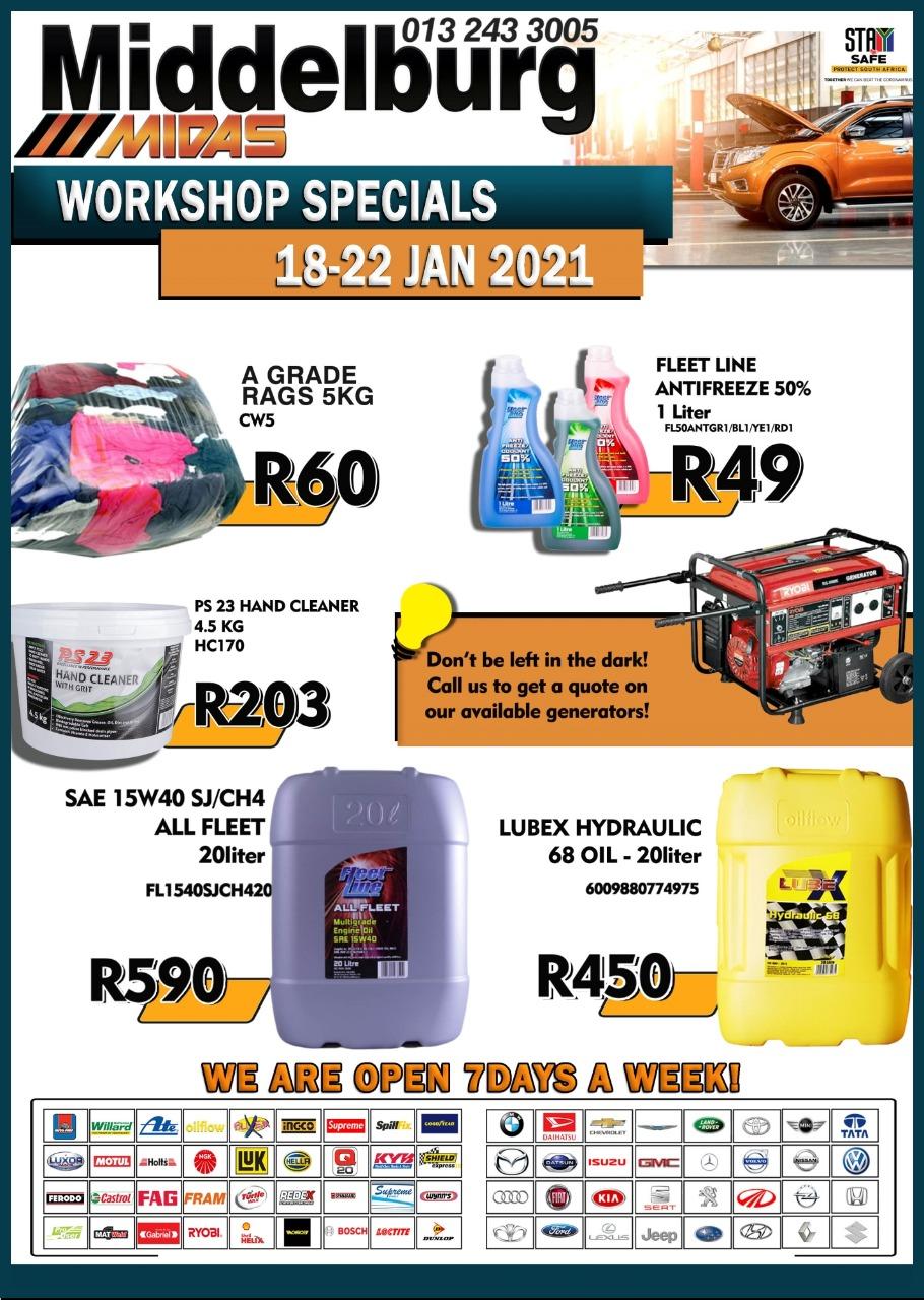 Middelburg Midas Workshop Specials 18-22 Jan!