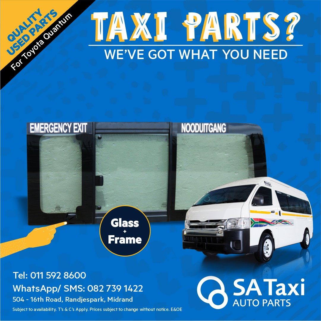 Glass and Frame - 3 piece suitable for Toyota Quantum - SA Taxi Auto Parts quality used spares