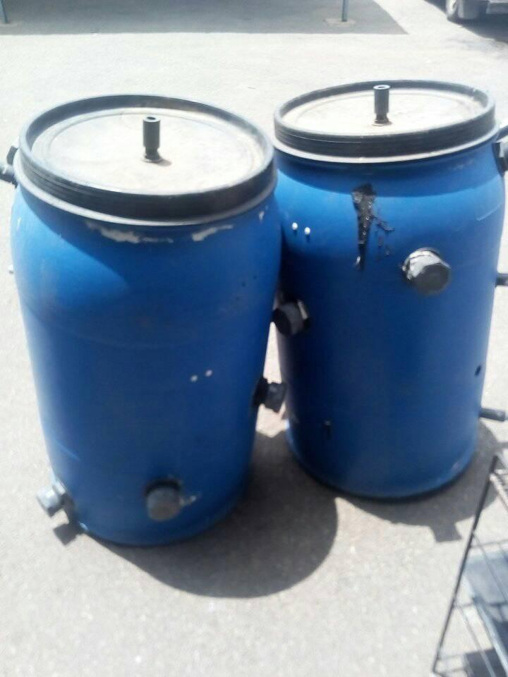 Blue dispensing containers
