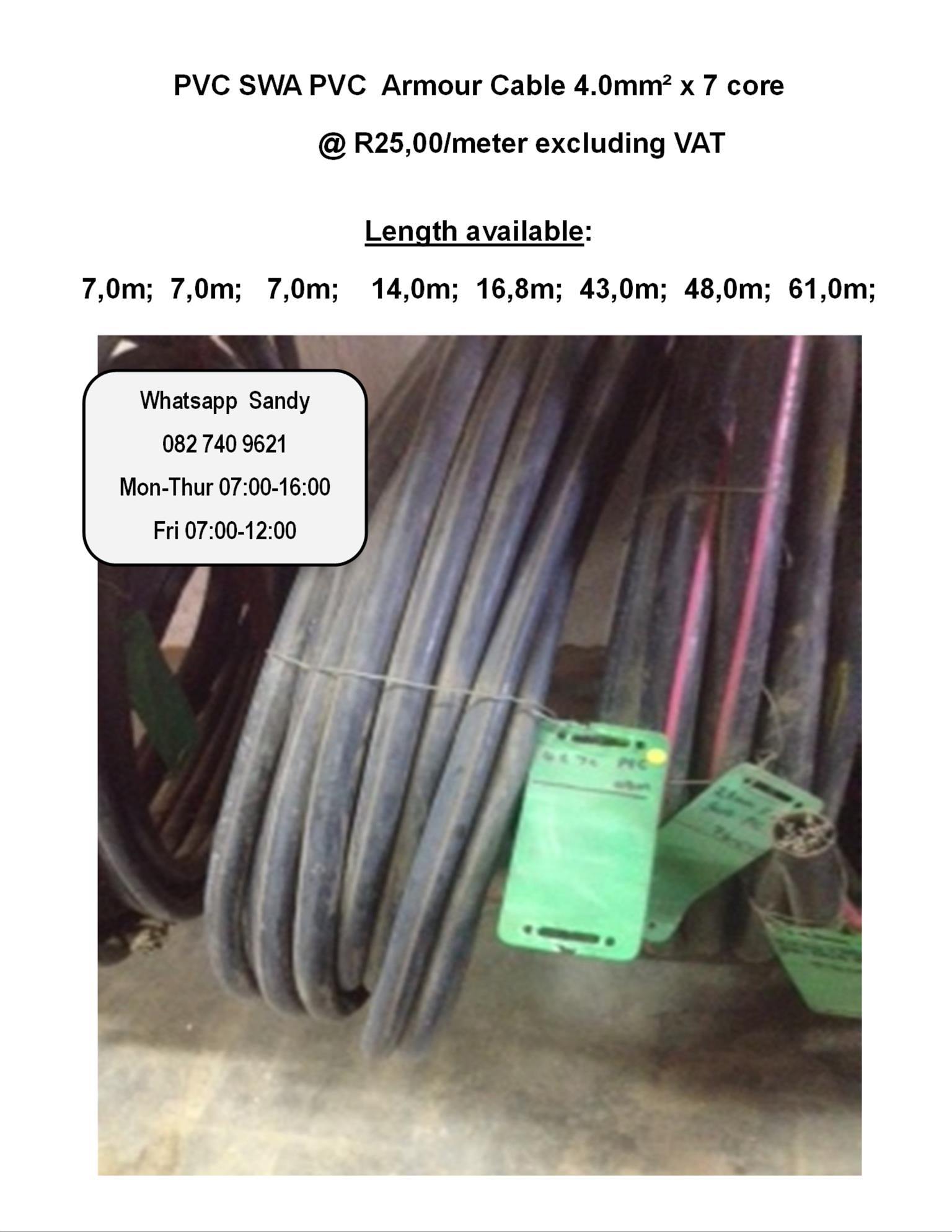 PVC SWA PVC  Armour Cable 4.0mm² x 7 core