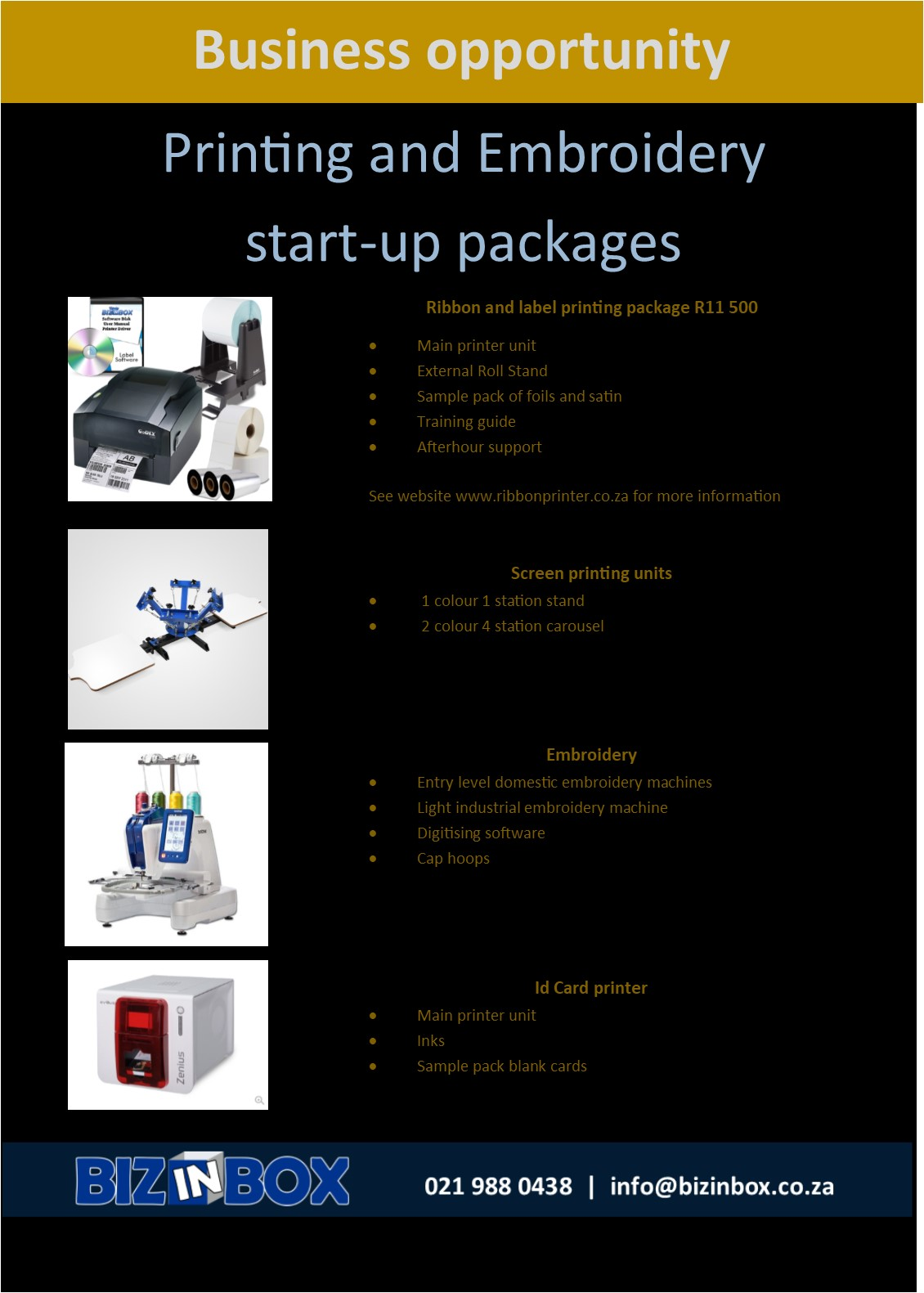 Startup business ideas - fully equipped packages