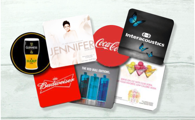 Mousepads, Deskpads , Fridgemagnets and coasters.