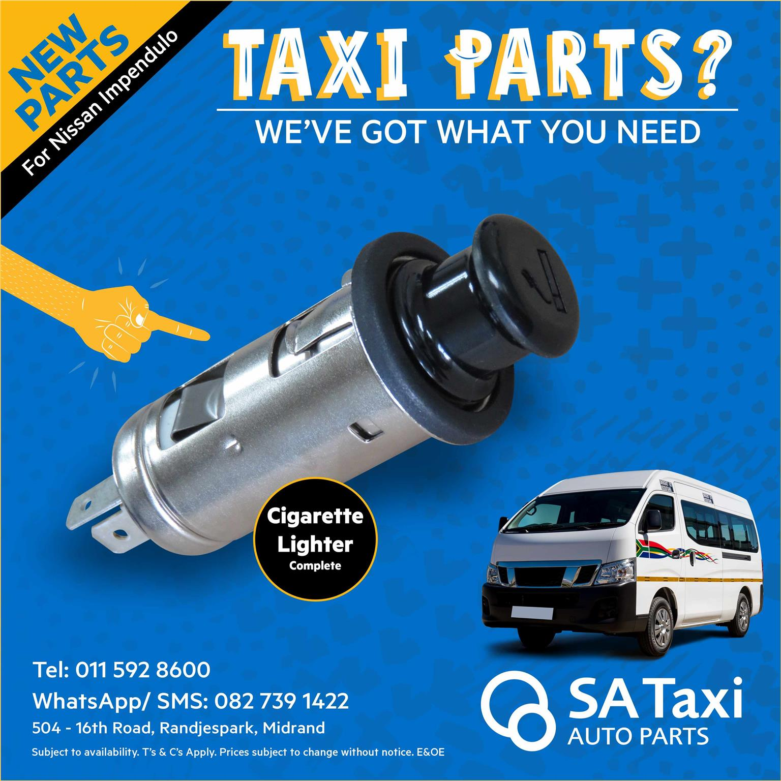 New Cigarette Lighter for Nissan NV350 Impendulo - SA Taxi Auto Parts quality taxi spares