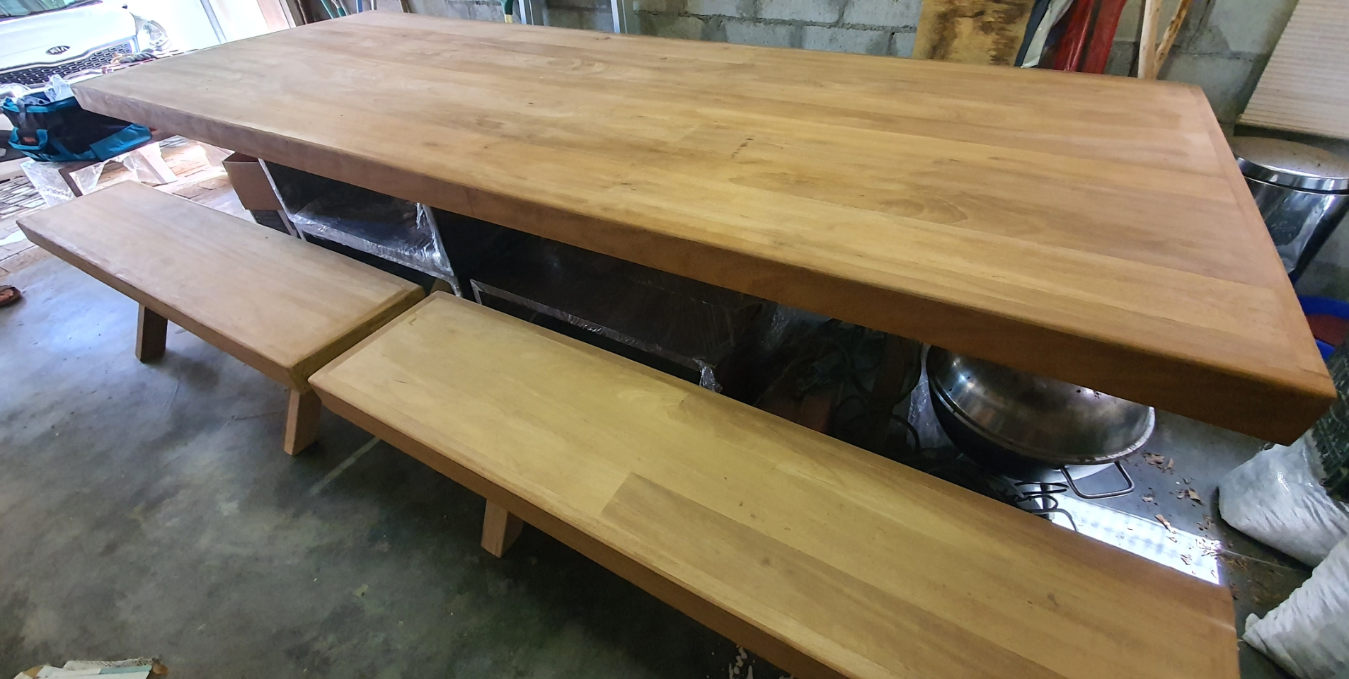 Brand new solid Meranti table and benches