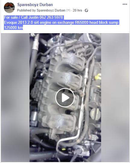Evoque 2013 2.0 si4 engine on exchange R65000 head block sump 125000 km