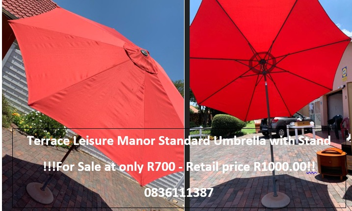 Terrace Leisure Manor Standard Umbrella with Stand !!!For Sale at only R700 - Retail price R1000.00!! 0836111387