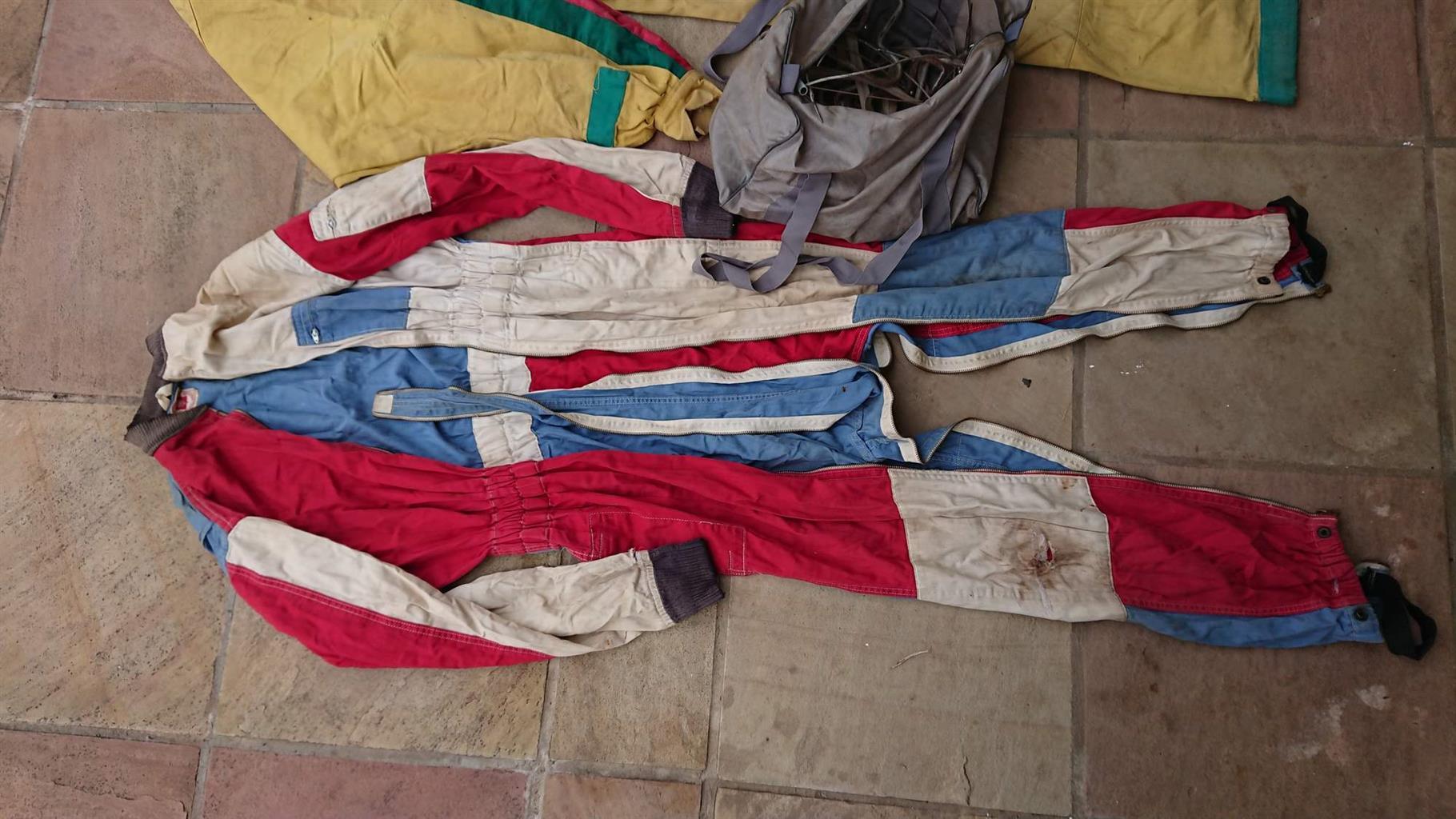 Antique parachute / skydiving jump suits.