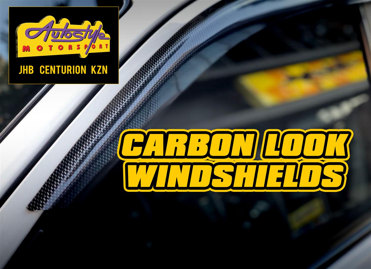 Windshields in 3D carbon look for most cars and bakkies.  self adhesive.  fits onto door.  from R220/pair