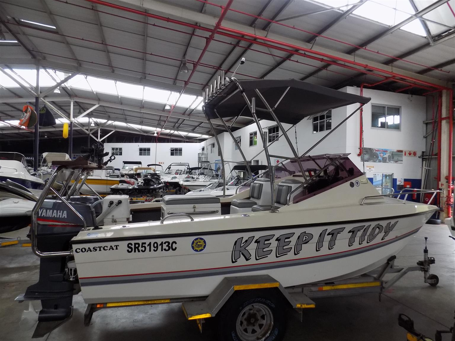 coastcat 16,6 on trailer 2 x 70 hp yamaha trims