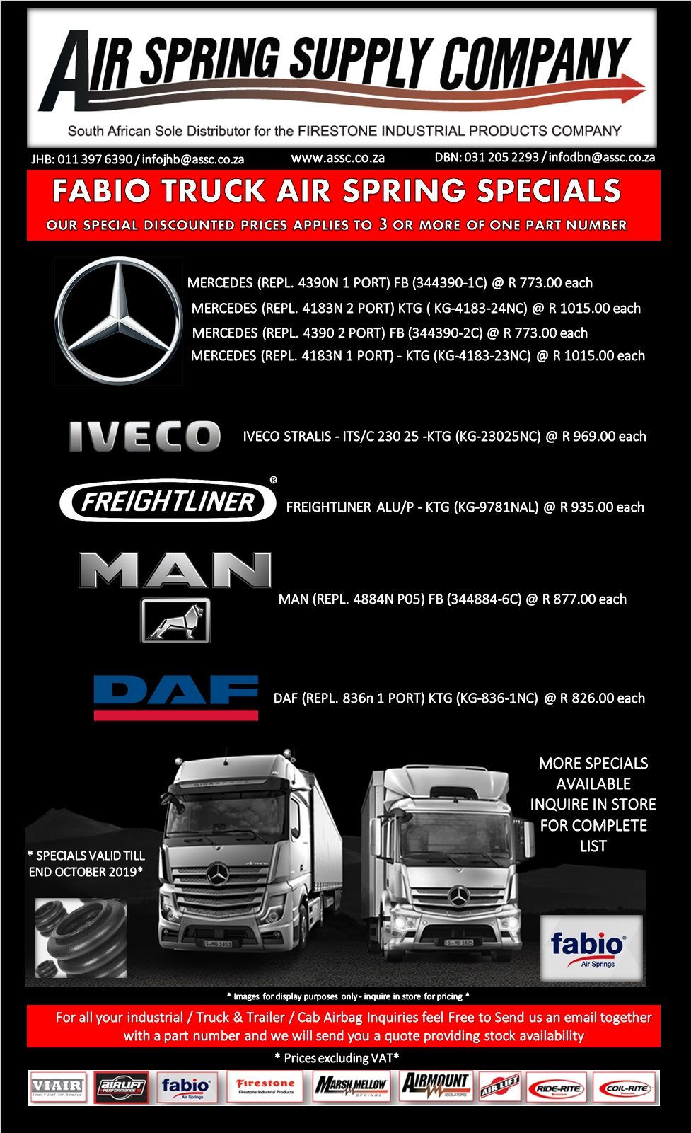 Truck / Trailer Air Bag Specials - Fabio - Firestone