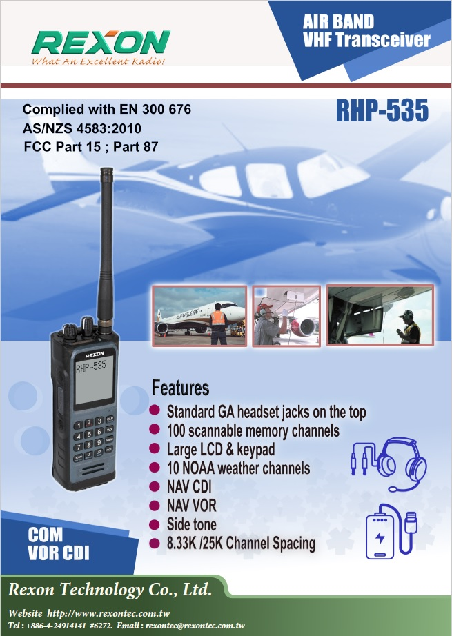 REXON RHP-535 Airband Portable Radio With Built-In Headset Jacks