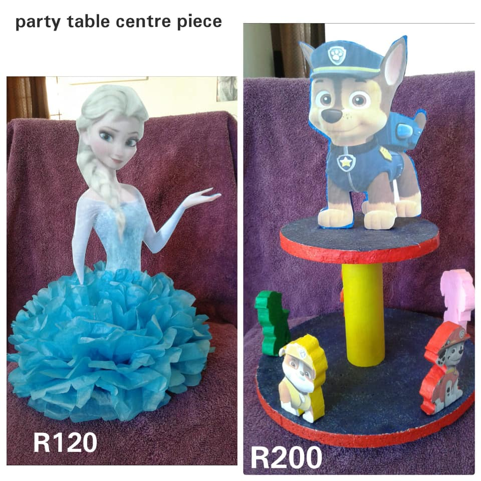 Frozen and paw patrol table center pieces