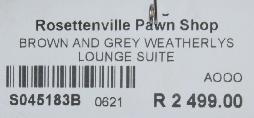Brown and grey weatherlys lounge suite S045183B #Rosettenvillepawnshop