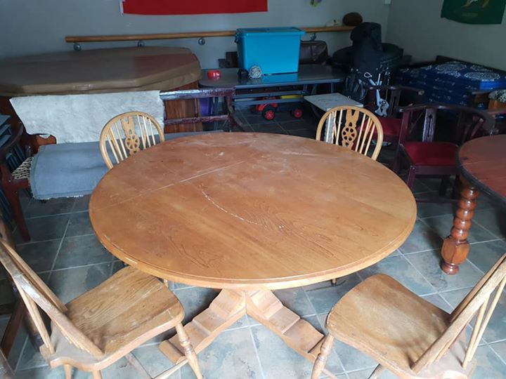 Old dining tables × 2 and chairs
