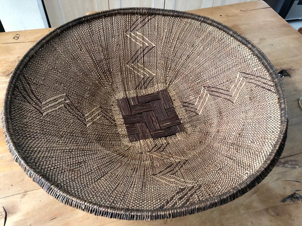 Large Asian wicker decor bowl - priced to clear