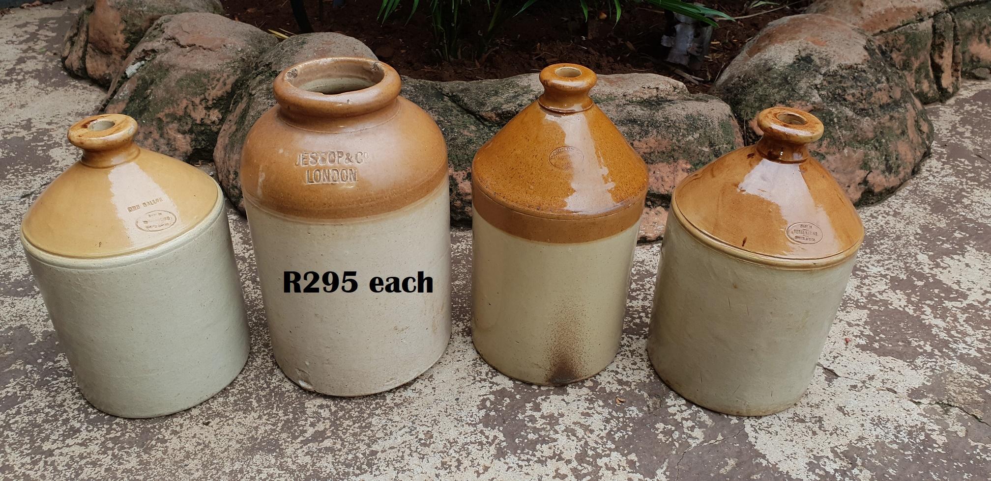 Antique Pottery Moonshine Decanters (R295 EACH)