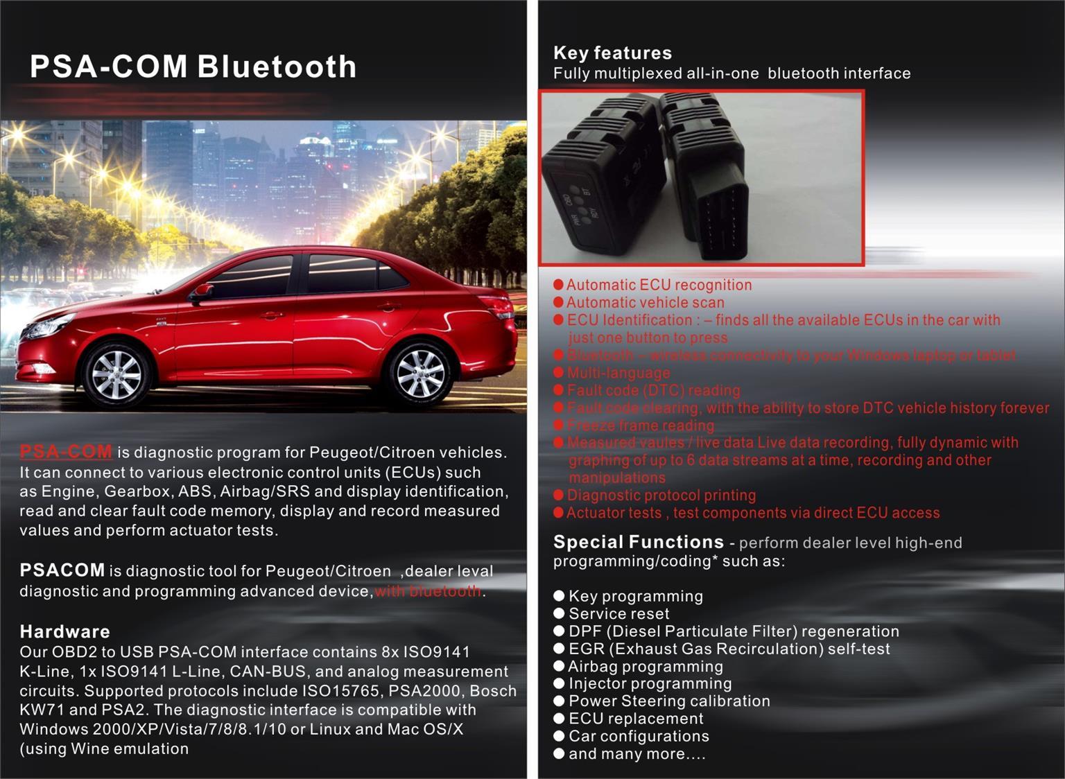 PSA-COM Bluetooth Pro Diagnostic Tool for Peugeot/Citroen