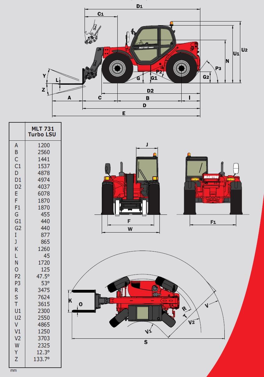 VerticalZA FORKLIFT Telehandler Manitou MLT731 -, 3 ton 7m TELESCOPIC Handler
