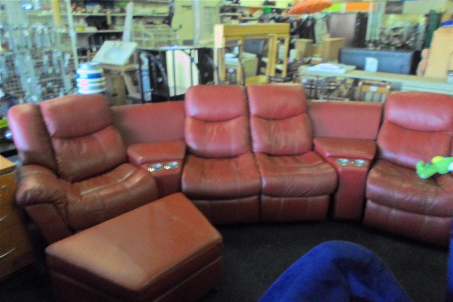 Leatherlike 4 Seater Recliner Lounge Suite + Ottoman