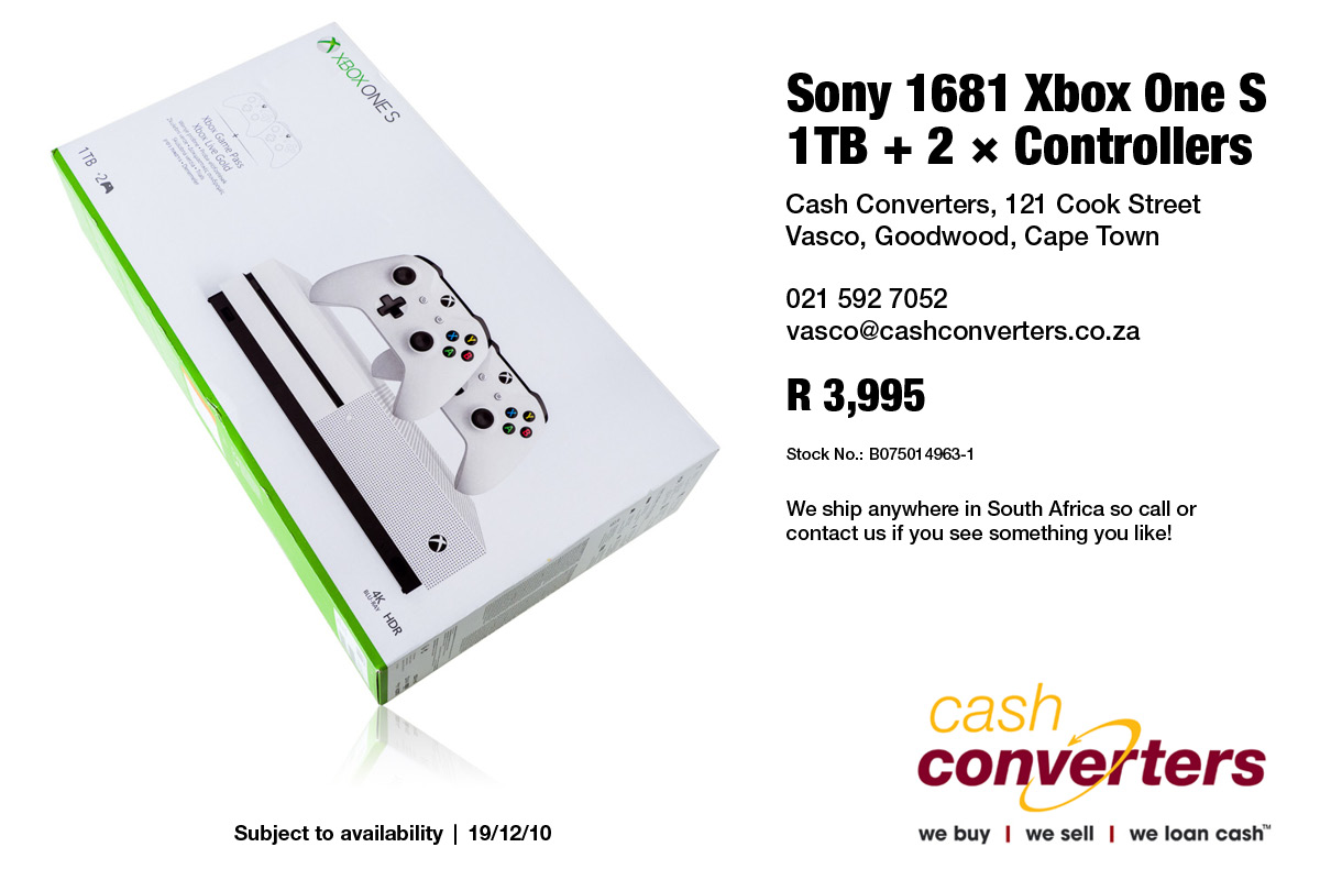 Sony 1681 Xbox One S 1TB + 2 × Controllers