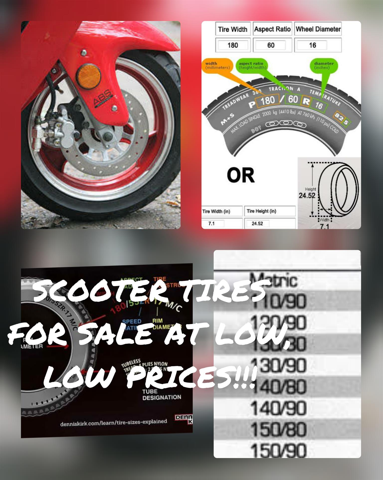 Scooter Tires ALL SIZES at unbeatable prices