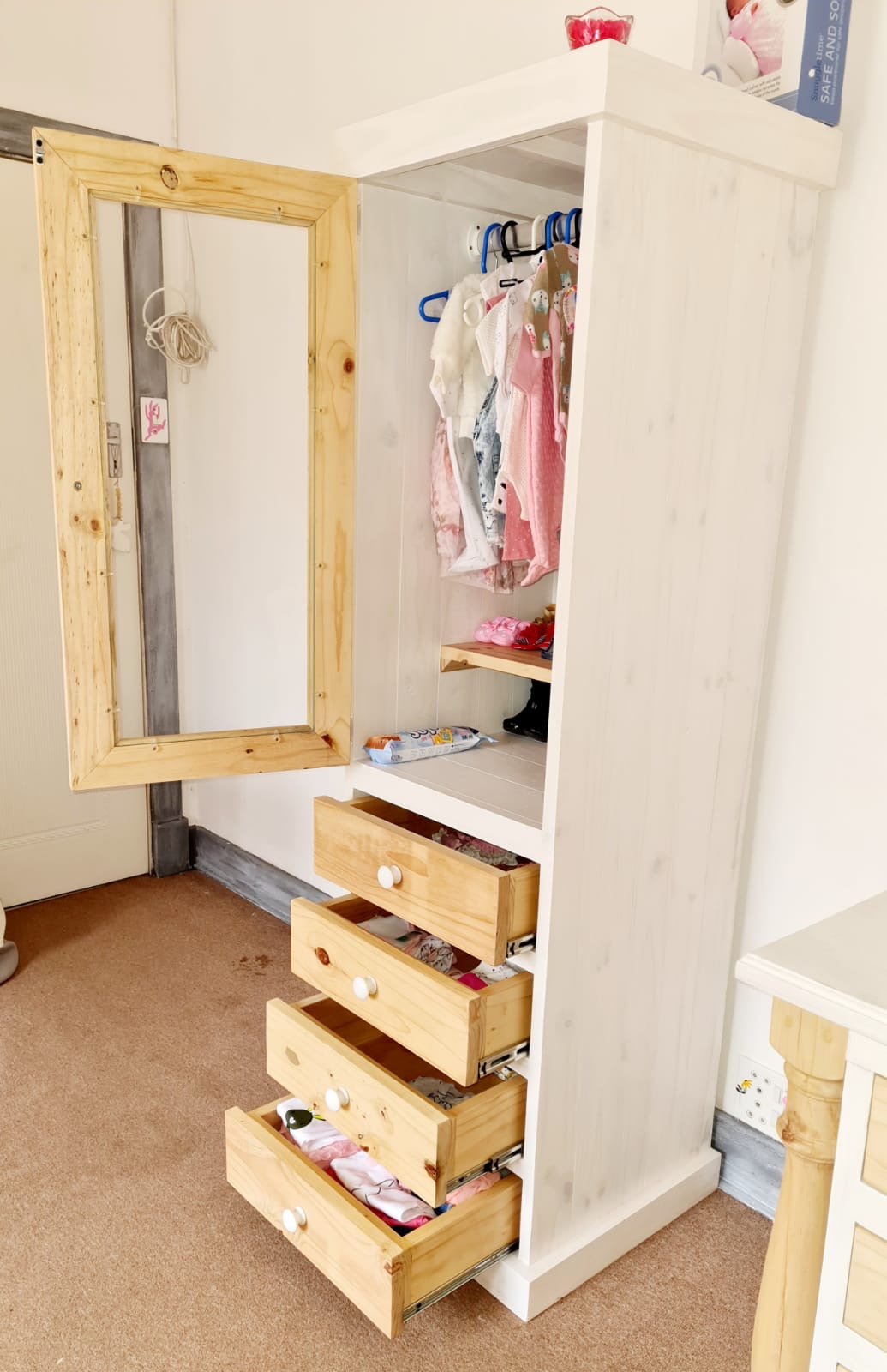 Nursery - Baby Wardrobe Farmhouse series 1800 Single with drawers  - Two toned