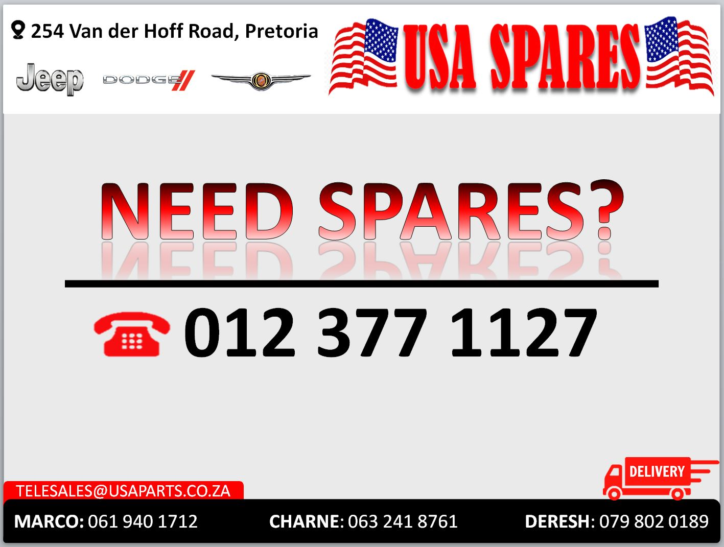NEED SPARES FOR JEEP/DODGE/CHRYSLER? WE GOT YOUR PARTS