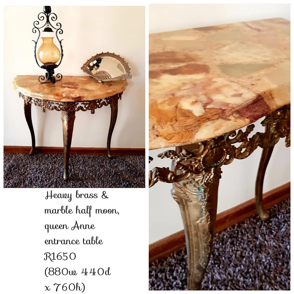 Heavy Brass & Marble Half Moon Table