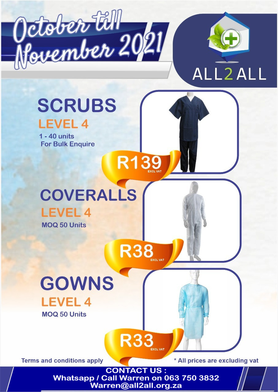 Scrubs, Coveralls, Gowns & Mop caps on Major Special from UVH Holdings