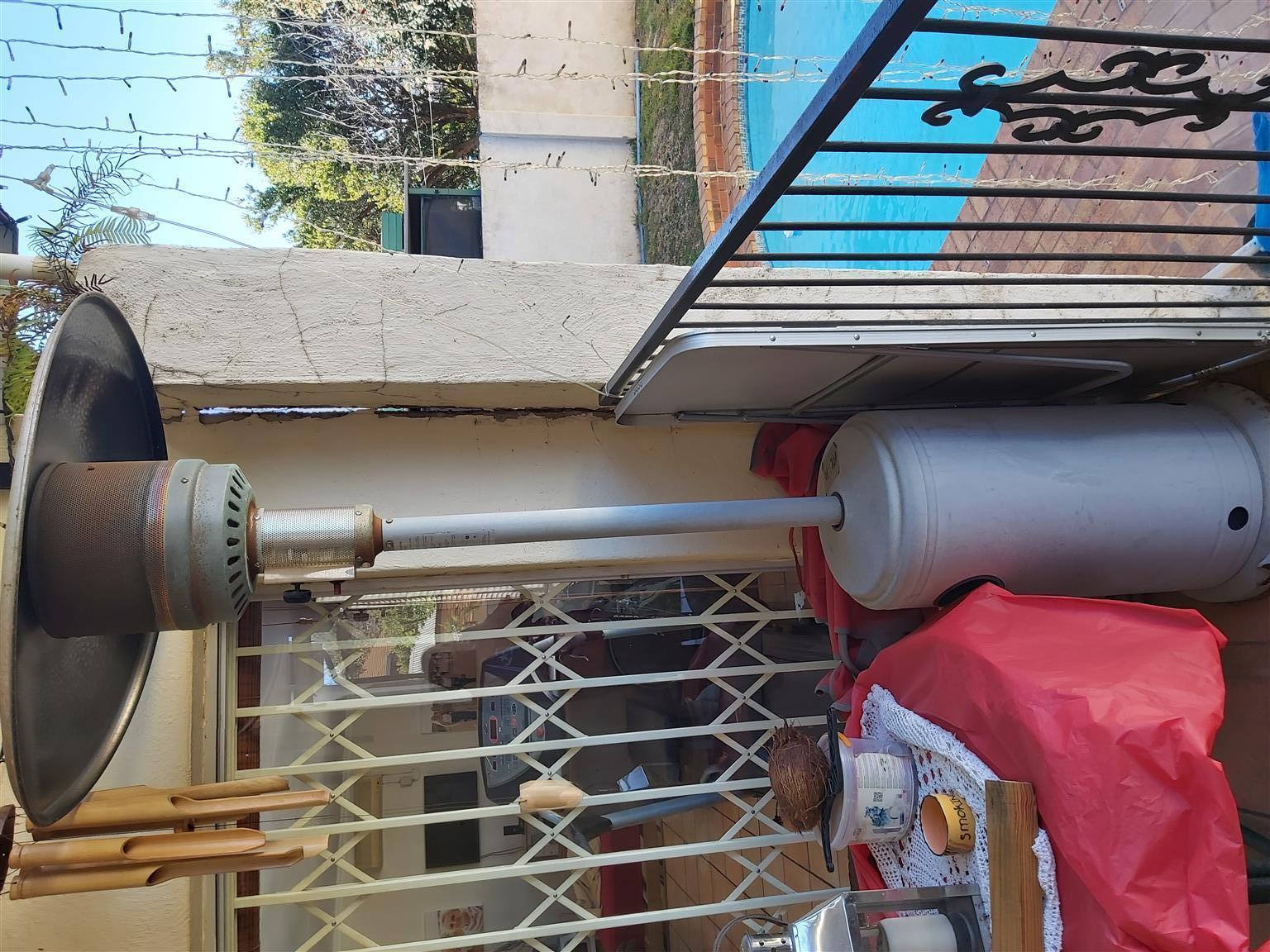 ALVA grey powder coated outdoor/patio gas heater.