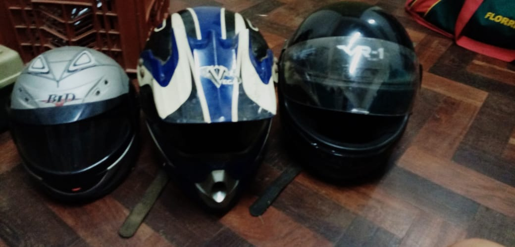 Motorbike helmets, 1 kiddy & 1 adult