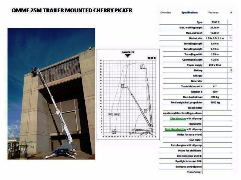 CHERRY PICKERS - 25M OMME TRAILER MOUNTED CHERRY PICKER FOR HIRE/SALE
