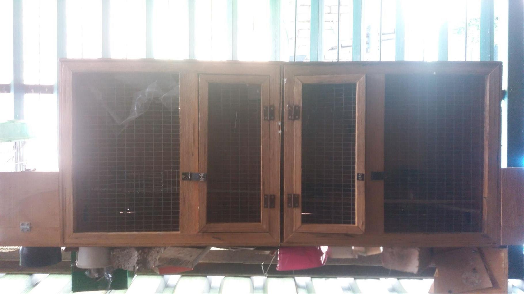 3 x wooden bird cages with nests
