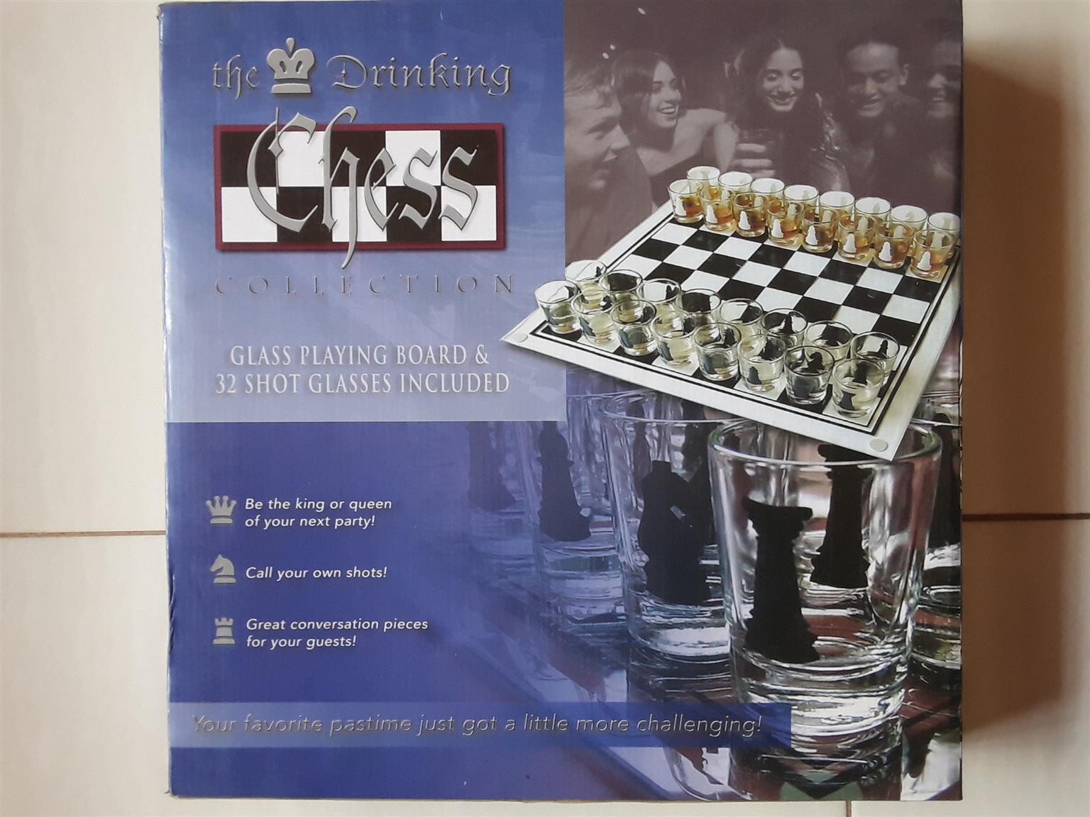Drinking Games: Shooters Chess. Brand new in a box. Never used. Made of Real glass.