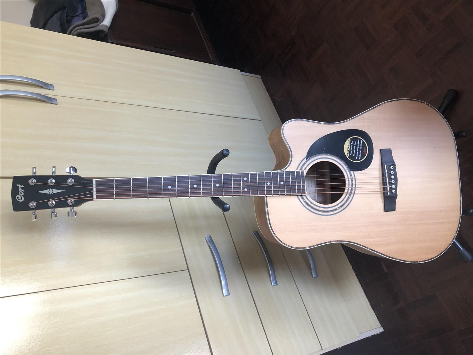 Cort Guitar AD880 CE NS acoustic-electric guitar + bag + guitar stand