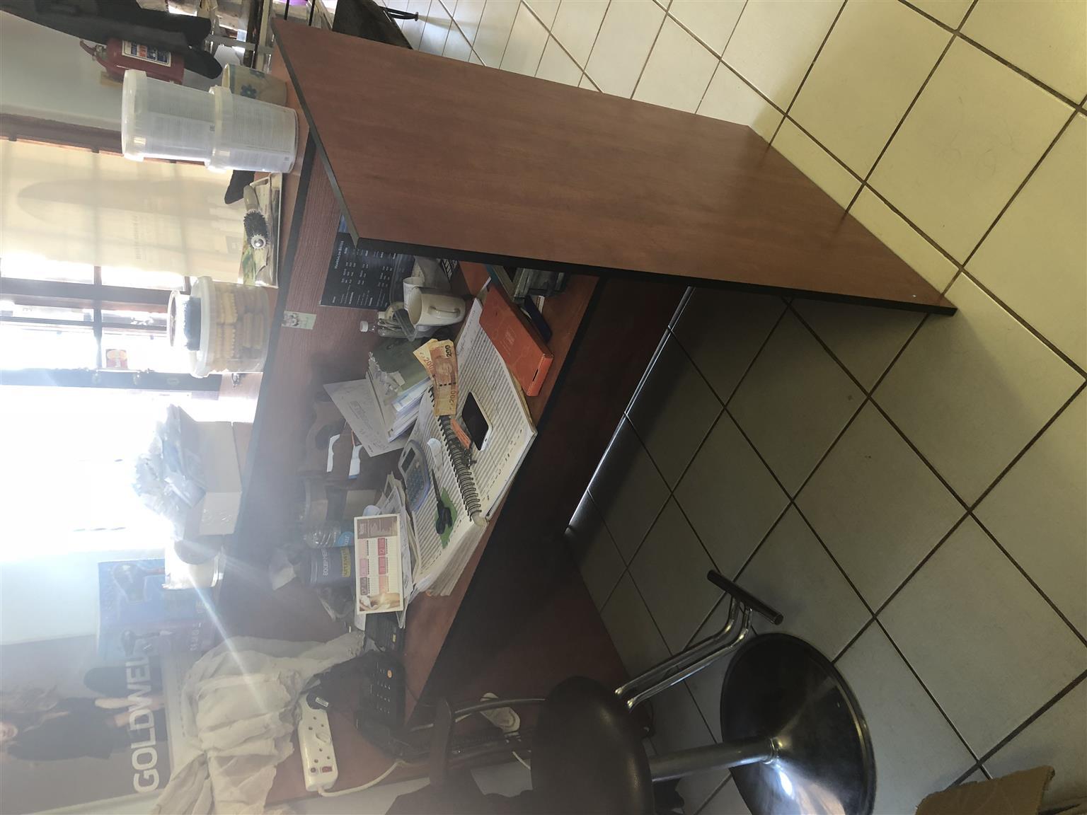 Wooden Desk in Hair Salon