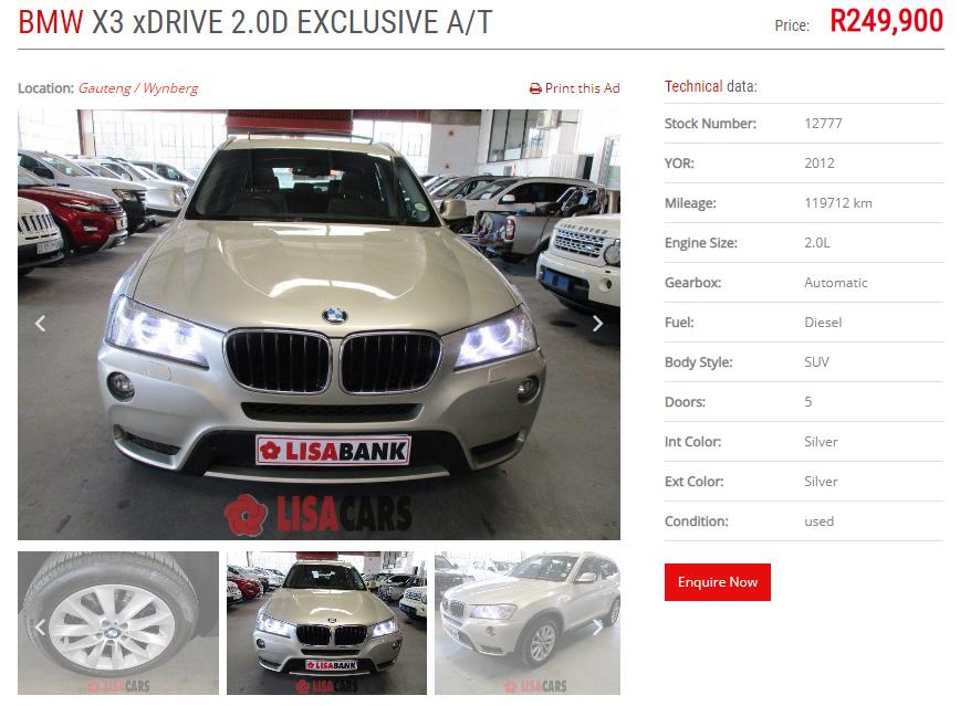 2012 BMW X3 xDRIVE 20d LUXURY LINE (G01)