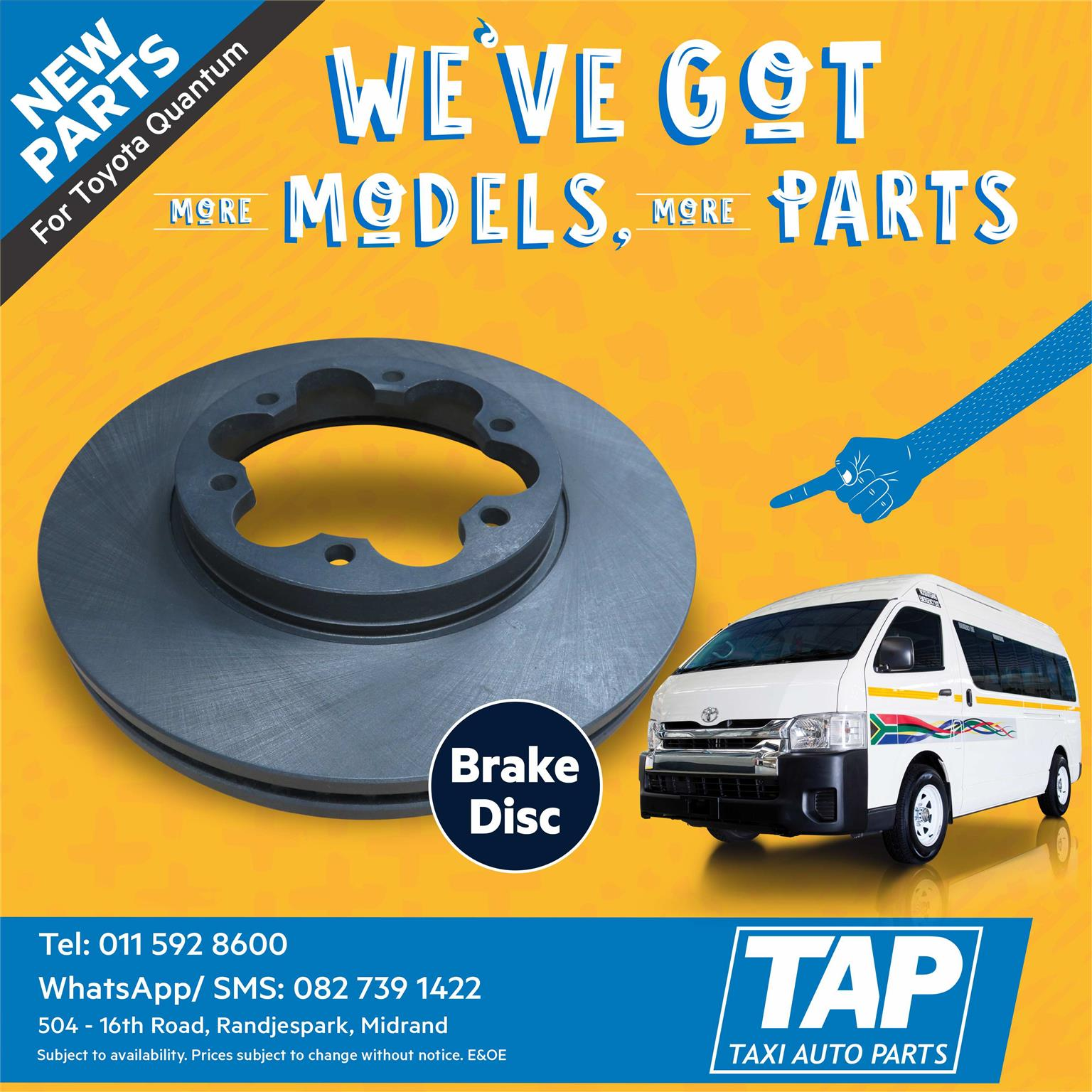 NEW Brake Disc for Toyota Quantum - Taxi Auto Parts - TAP