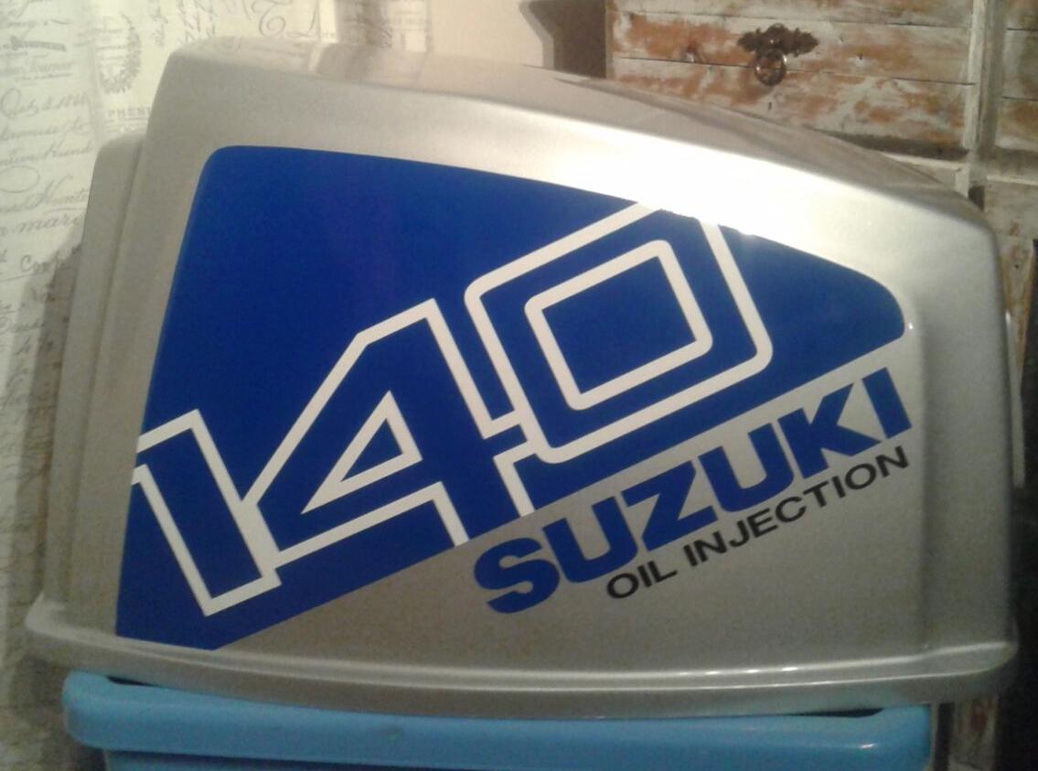 Suzuki DT 140 outboard motor cowl decals stickers vinyl graphics sets