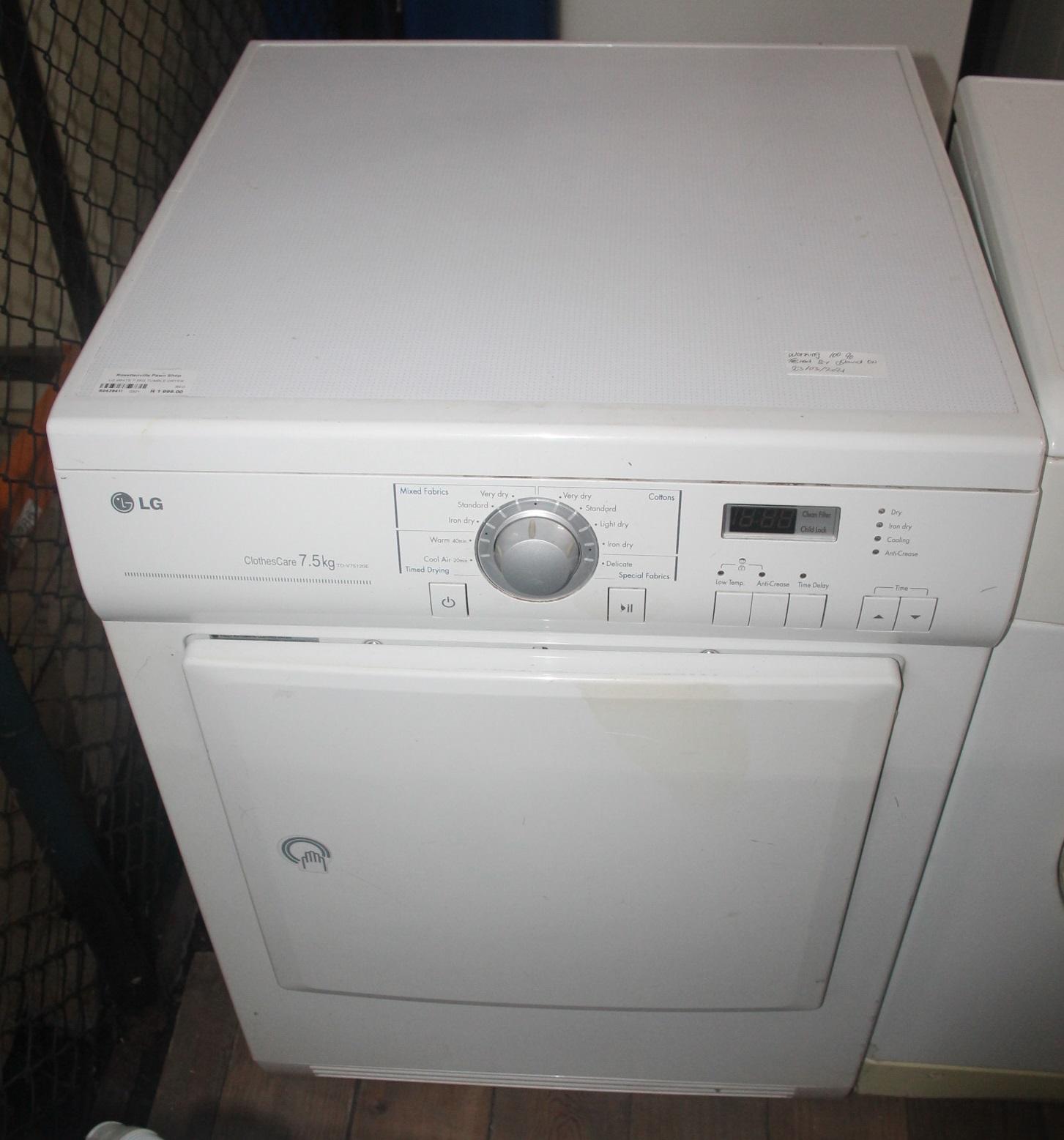 Lg white tumble dryer 7.5kg S043941I #Rosettenvillepawnshop