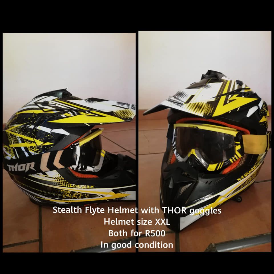 Yellow stealth flyte helmet with thor goggles